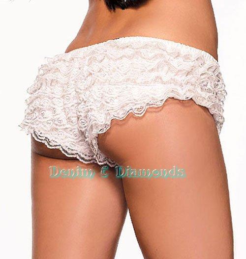 L~White Ruffle Lace Dance/Burlesque Boyshorts Rhumba/Tanga Shorts
