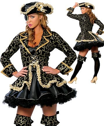5 pc Caribbean Pirate Costume Skirt, Boot Cuffs, Jacket & Hat M/L