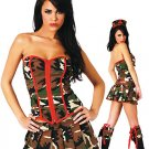 CLEARANCE! Sexy Army Girl Military Costume Dress, Boot Cuffs, & Hat O/S