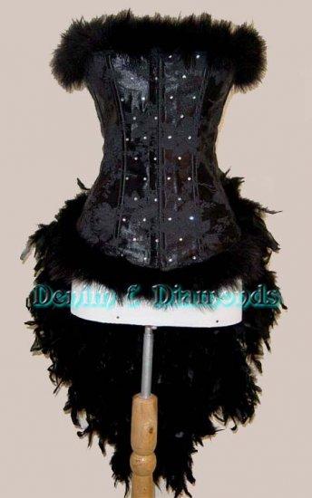 Custom Black Angel Feather Burlesque Moulin Costume XL