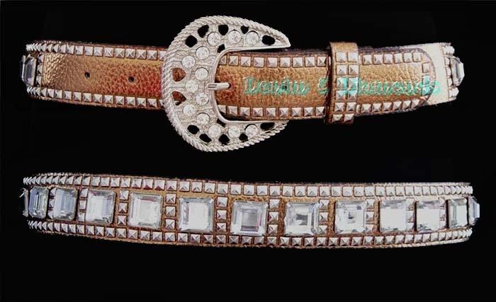 Copper Square Crystal Rhinestone Studded Western Horseshow Belt L