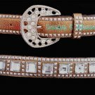 Copper Square Crystal Rhinestone Studded Western Horseshow Belt L