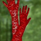 Red Stretch Lace Gloves Opera Length 23""