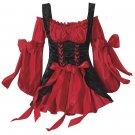 Red & Black  Renaissance Costume Dress L