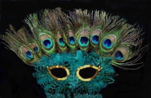 Peacock Eye Feather Masquerade Mask