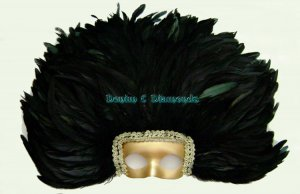 Black Rooster Feather Headdress w/Removable Mask