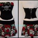 S/M~ Red Rose & Skull Corset & Skirt Set