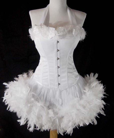 Large~Custom White Moulin Burlesque Can Can Costume