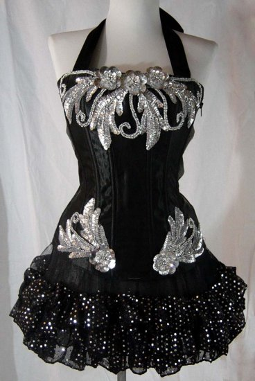 Large~Custom Black/Silver Moulin Burlesque Can Can Costume