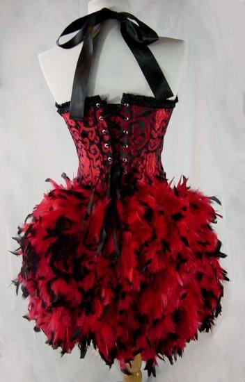 L~Red & Black Garter Strap Burlesque Moulin Costume