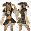 M/L Roma 7pc Caribbean Pirate Costume Skirt, Jacket, Hat, Sword +
