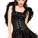 Black Angel Costume & Wings Dress & Waist Cincher Corset