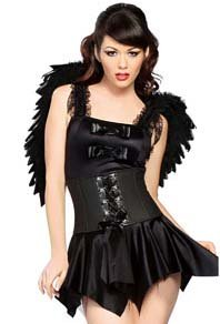 Black Angel Costume & Wings Dress & Waist Cincher Corset