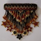 Indian Beaded Glass Leather Barrette Regalia Powwow Native American Style Earth