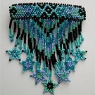 Indian Beaded Glass Leather Barrette Regalia Powwow Native American Style Turquoise