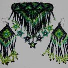 Indian Beaded Glass Leather Barrette & Earrings Regalia Powwow Native American Style Green