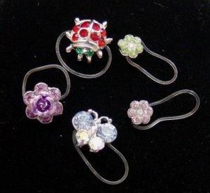 Genuine Swaroviski Crystal Invisible Stretch Toe Ring Lot Ladybug Butterfly Flower