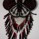Indian Beaded Butterfly Glass Leather Barrette Regalia Powwow Native American Style Silver/Black/Red