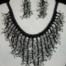 Handmade Beaded Seed Bead Seashell Coral Necklace & Earrings Set Black Silver