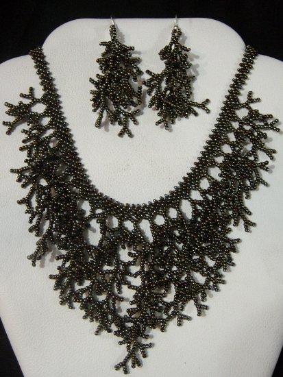 Handmade Beaded Seed Bead Seashell Coral Necklace & Earrings Set Brown Gunmetal