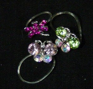 Genuine Swaroviski Crystal Invisible Stretch Toe Ring Lot Dragonfly Butterfly