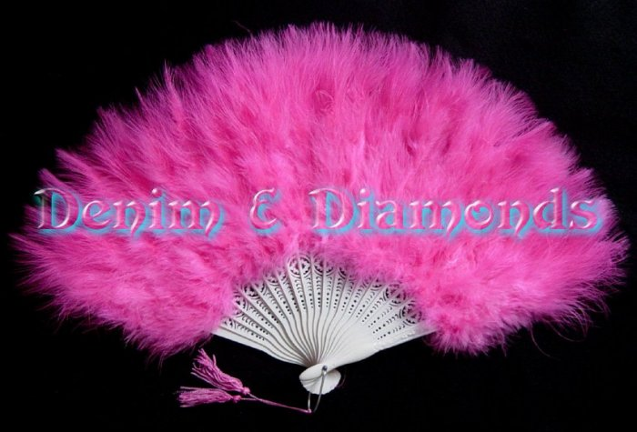 Hot Pink Marabou Feather Hand Fan Saloon Costume