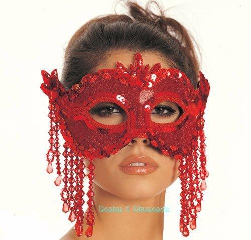 Red Sequin & Beaded Fringe Mask Masquerade Ball Mardi Gras Costume