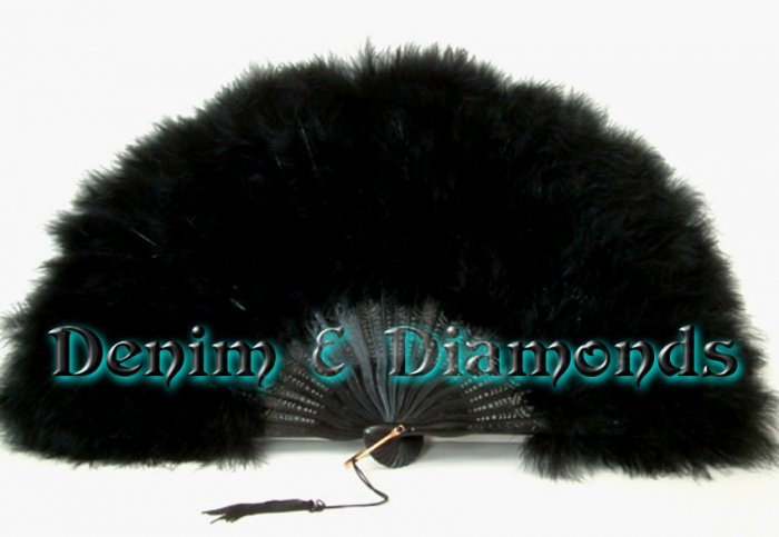 Black Marabou Feather Hand Fan Saloon Costume