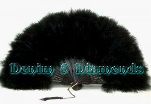 Black Marabou Feather Hand Fan Saloon Costume