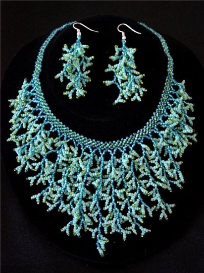 Handmade Beaded Seed Bead Seashell Coral Necklace & Earrings Set Turquoise