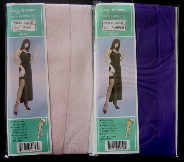 2 Pair Pink & Purple Thigh High Pantyhose Stockings Non-Slip Tops