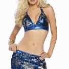 SALE! 2pc Sexy Exotic Dancer Sequin Skirt & Top Set-Royal