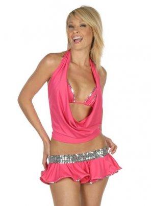SALE! 4 Pc Exotic Dancer Sequin Trimmed Bikini Skirt & Halter Top Set