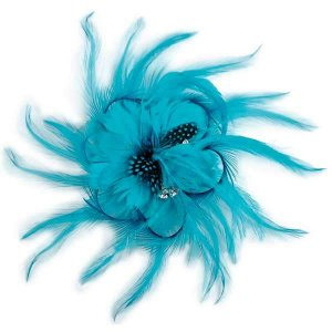 Turquoise Ostrich Feather Burlesque Costume Headdress Hair Clip