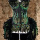 S~Custom Made Deluxe Peacock Eye Feather Burlesque Mardi Gras Costume