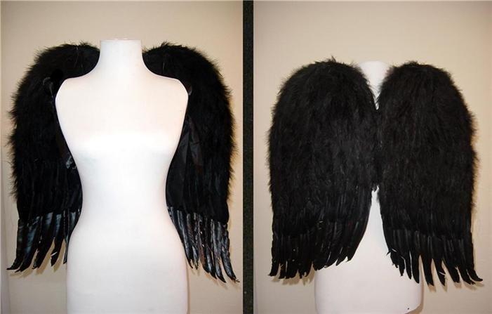 "23' x 22"" Large Black Feather Dark Angel Wings"