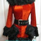 ON SALE!! Size-O/S:  3 Pc Black Faux Fur Trim Hooded Dress Ms Santa Christmas Costume