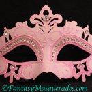 Laser Cut Venetian Masquerade Ball Mardi Gras Rhinestone Mask Pink