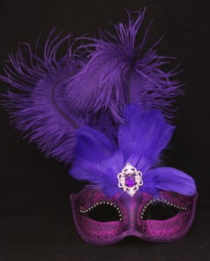 Ostrich Feather Venetian Masquerade Ball Mardi Gras Purple
