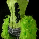 S-CLEARANCE-Green Moulin Burlesque Costume Theater Stage Dance Showgirl Feather Costume