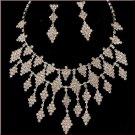 Crystal Rhinestone Long Cascade Diamond Pattern Choker & Earrings Set