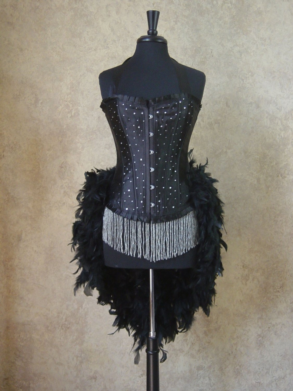 Black Scattered Crystal Moulin Burlesque Showgirl Costume L