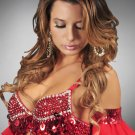 L/XL Red Sequin and Beaded Bra