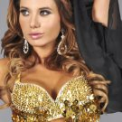 L/XL Gold Sequin and Beaded Bra