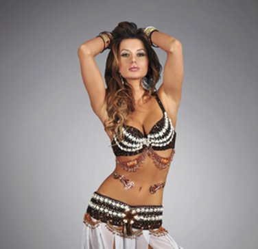 L/XL Professional Tribal Belly Dance Costume Sequin & Shell Beaded Bra Top
