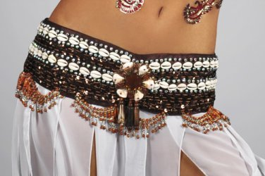 M/L Professional Tribal Belly Dance Costume Sequin & Shell Beaded Belt Bottom