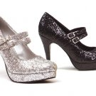 Size 8-Ellie Shoes-Black Double Strap Glitter Mary Jane Heels 421-Jane-G