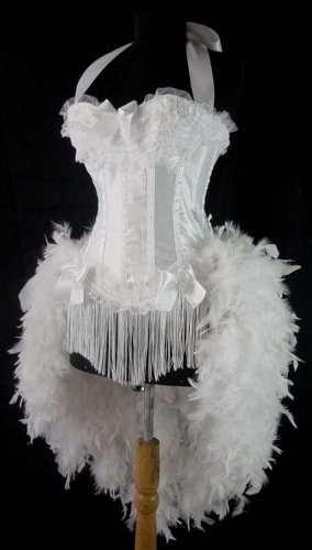 XL~White Victorian Lace Moulin  Burlesque Showgirl Costume