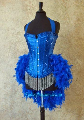 S-Royal Blue Scattered Crystal Moulin Burlesque Showgirl Costume