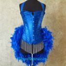 L-Royal Blue Scattered Crystal Moulin Burlesque Showgirl Costume